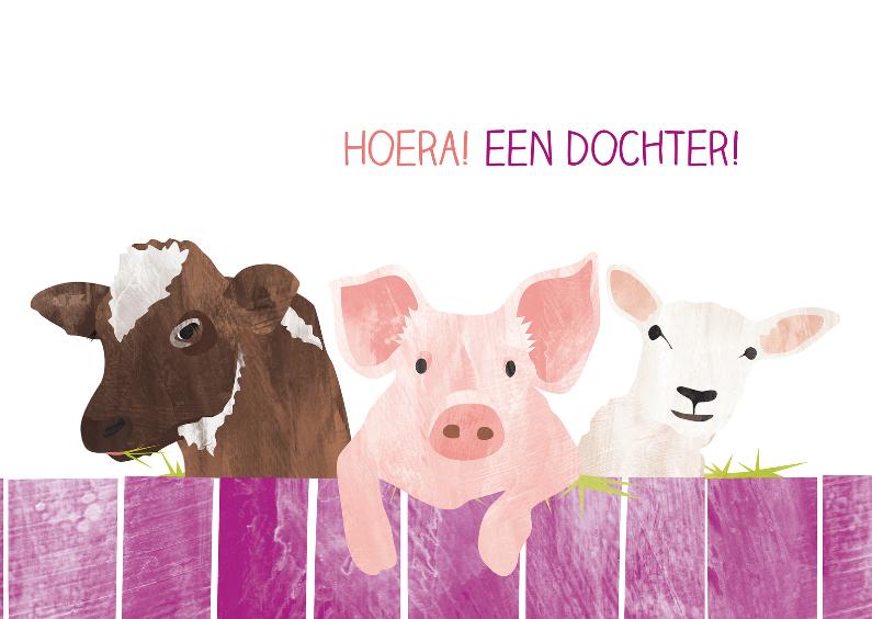 Felicitatiekaarten - Een dochter met koe varken en schaap