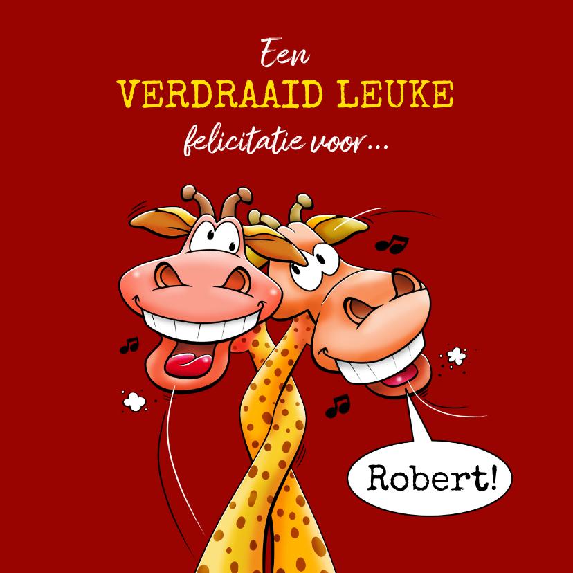 Felicitatiekaarten - Een verdraaid leuke felicitatiekaart met giraffen