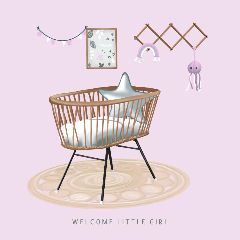 Felicitatiekaarten - Eigentijds felicitatiekaartje babykamer geboorte meisje