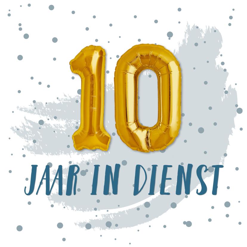 Felicitatiekaarten - Felicitatie 10 jaar in dienst ballonnen
