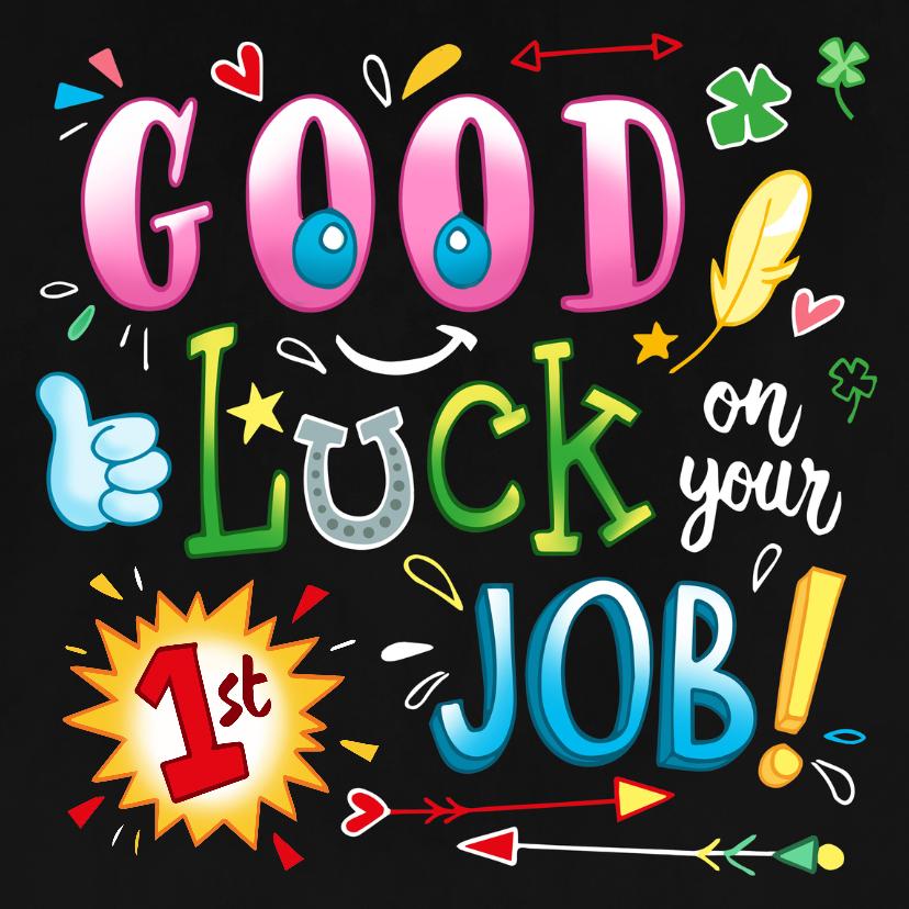 Felicitatiekaarten - Felicitatie Baan schoolbord doodles - first Job