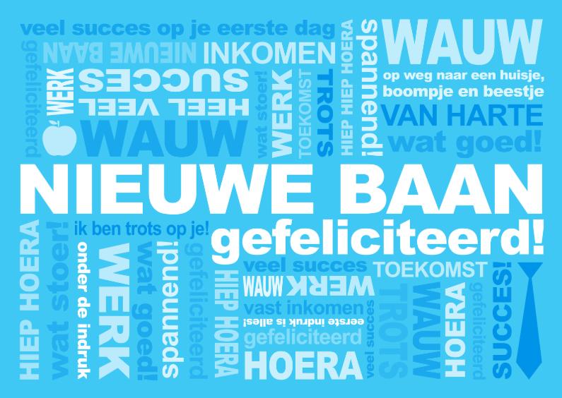 Felicitatiekaarten - Felicitatie Baan Tekst Blauw