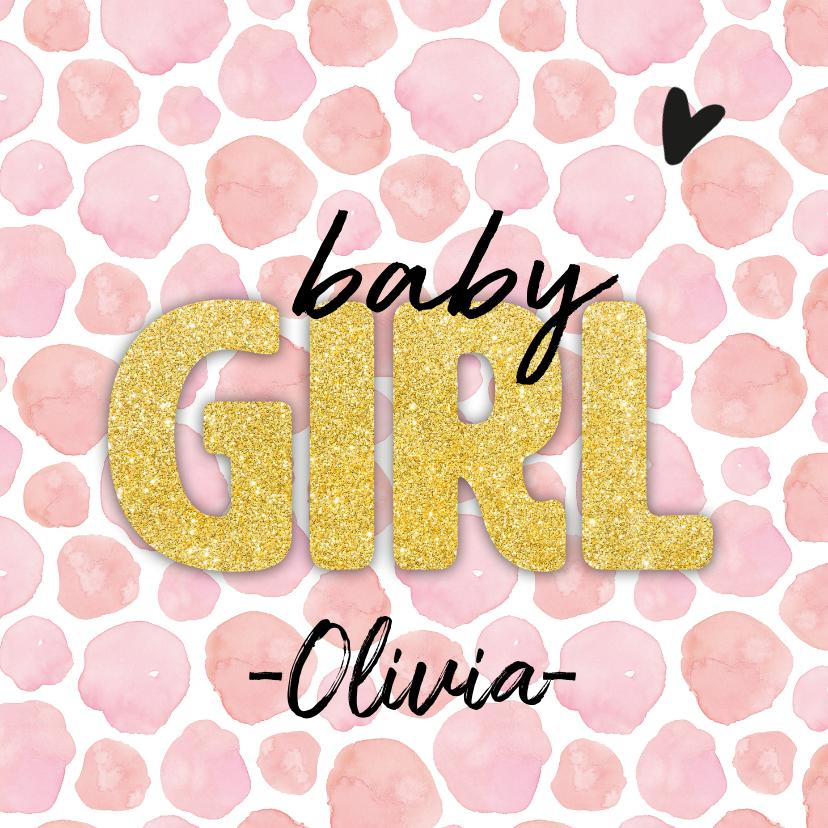 Felicitatiekaarten - Felicitatie - baby girl goud roze naam