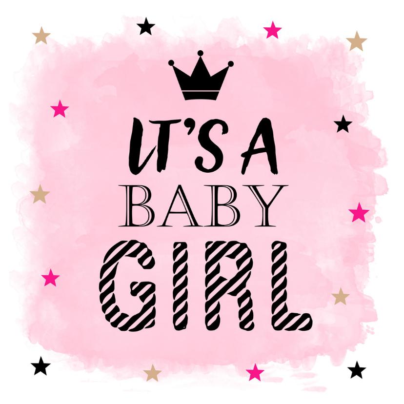 Felicitatiekaarten - Felicitatie baby meisje waterverf sterren