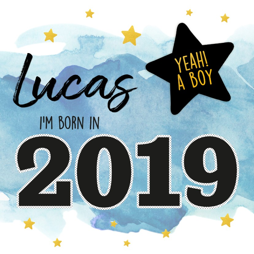 Felicitatiekaarten - Felicitatie - born in 2019 (jongen)