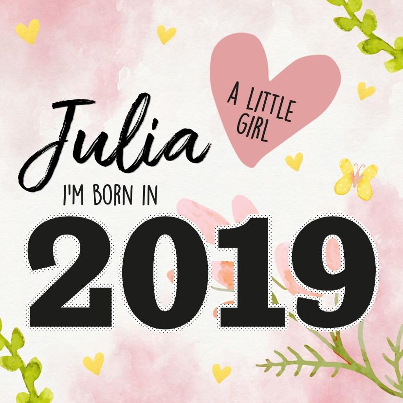 Felicitatiekaarten - Felicitatie - born in 2019 (meisje)
