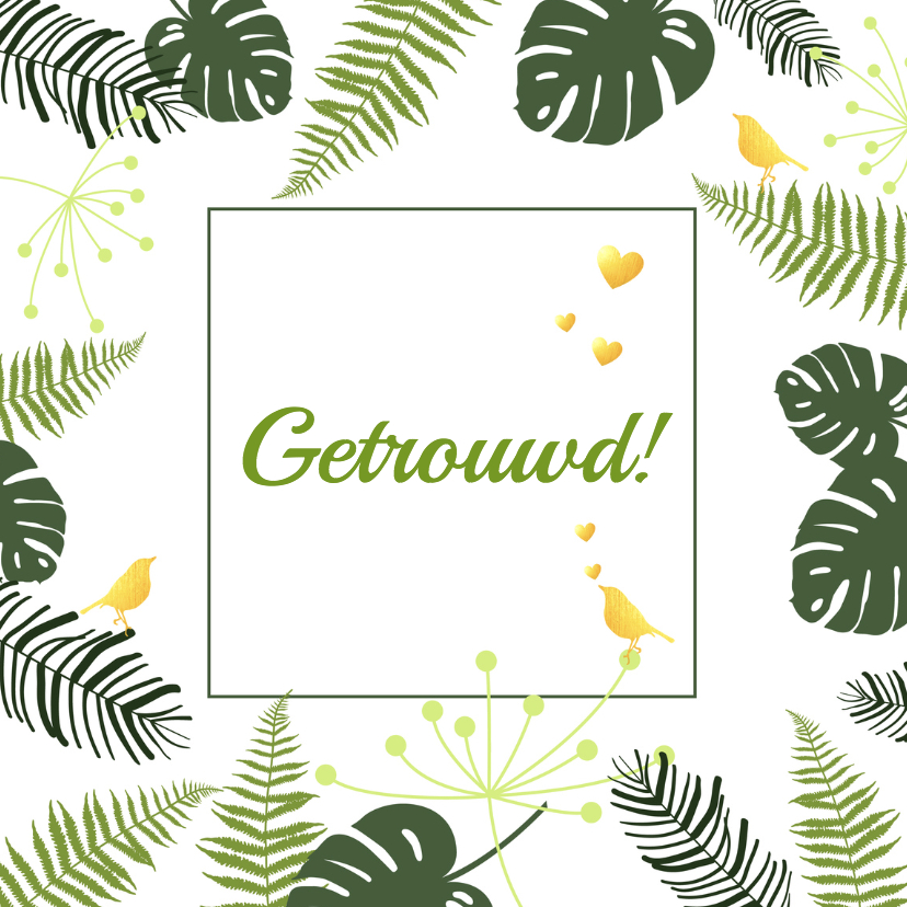 Felicitatiekaarten - Felicitatie - Botanisch huwelijk goud