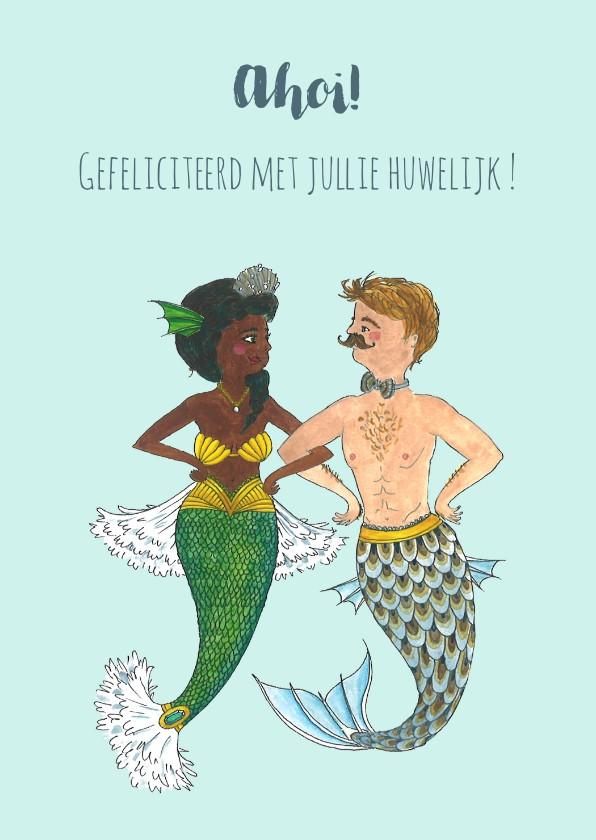 Felicitatiekaarten - Felicitatie bruiloft zeemeermin en zeemeerman