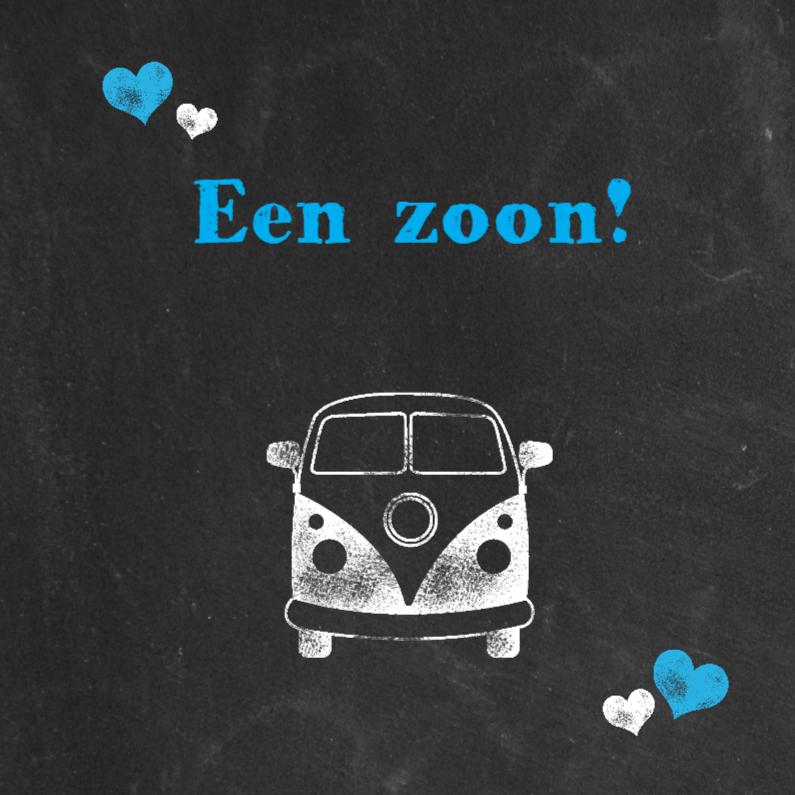 Felicitatiekaarten - Felicitatie bus en harten blauw