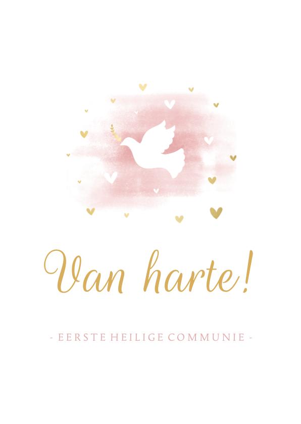 Felicitatiekaarten - Felicitatie communie duif met hartjes en waterverf