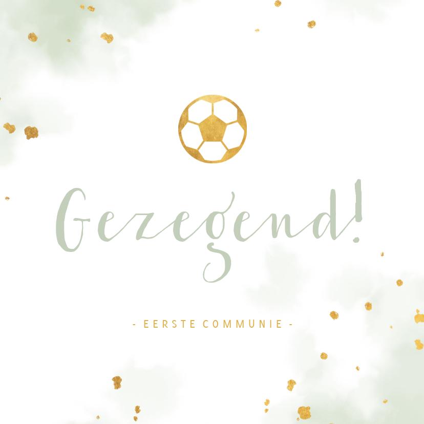 Felicitatiekaarten - Felicitatie communie gouden voetbal met waterverf