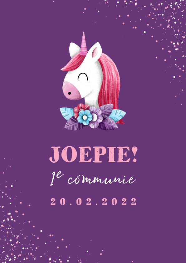 Felicitatiekaarten - Felicitatie communie unicorn met confetti en foto