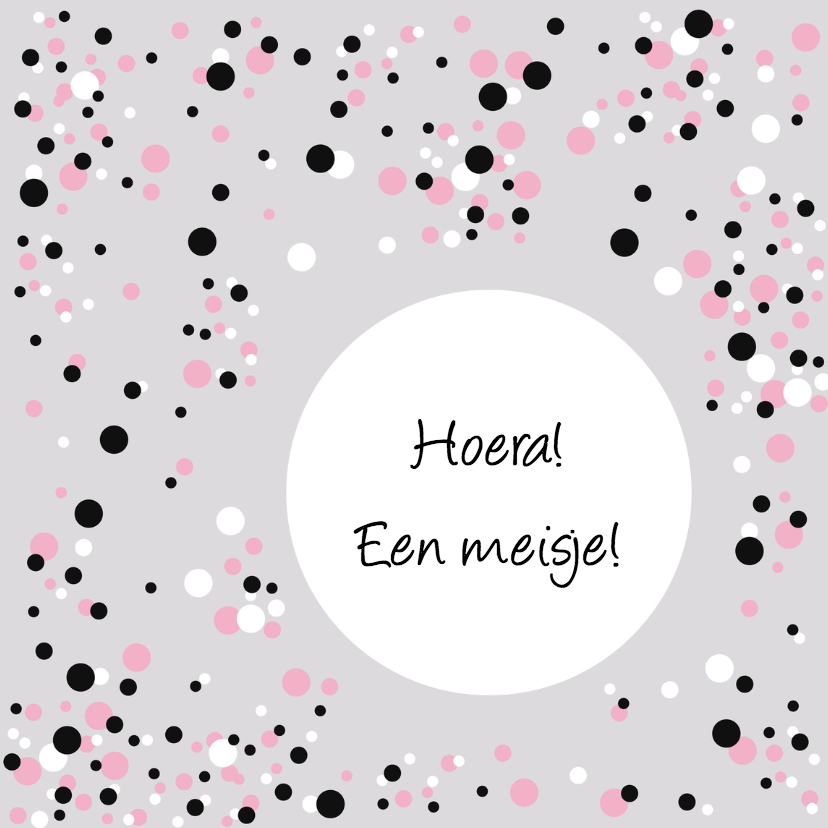 Felicitatiekaarten - Felicitatie Confetti roze grijs