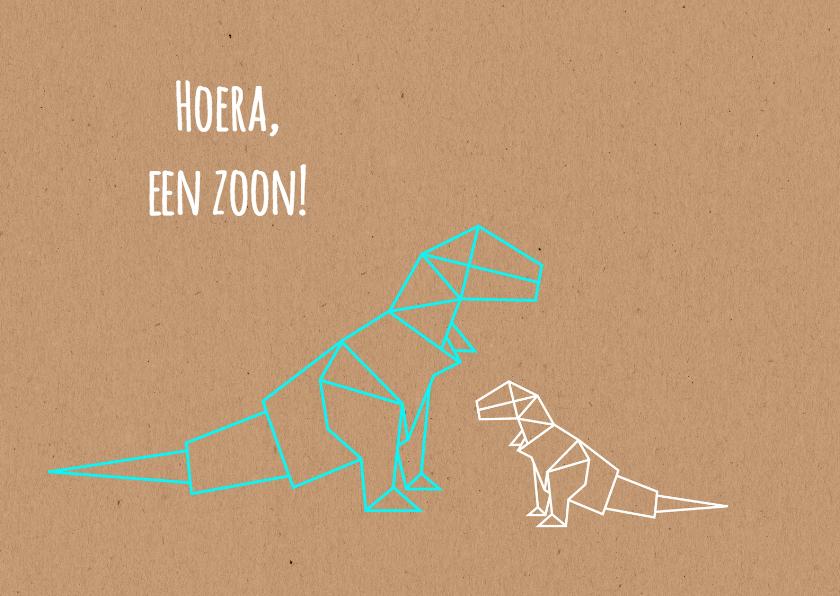 Felicitatiekaarten - Felicitatie - Dino origami broer