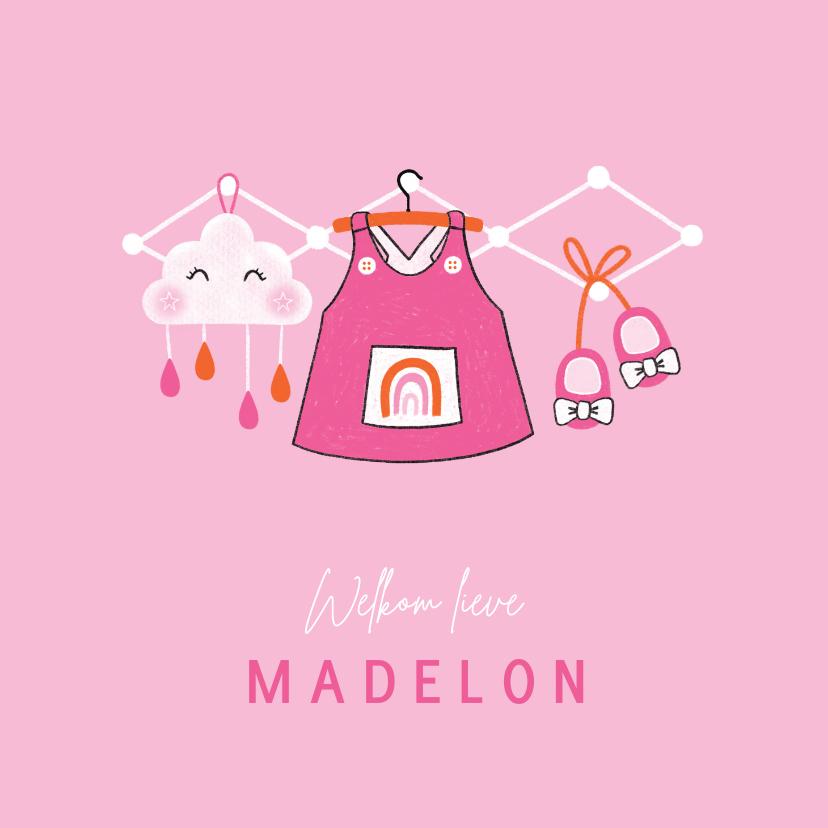 Felicitatiekaarten - Felicitatie dochter kleertjes jurk wolk