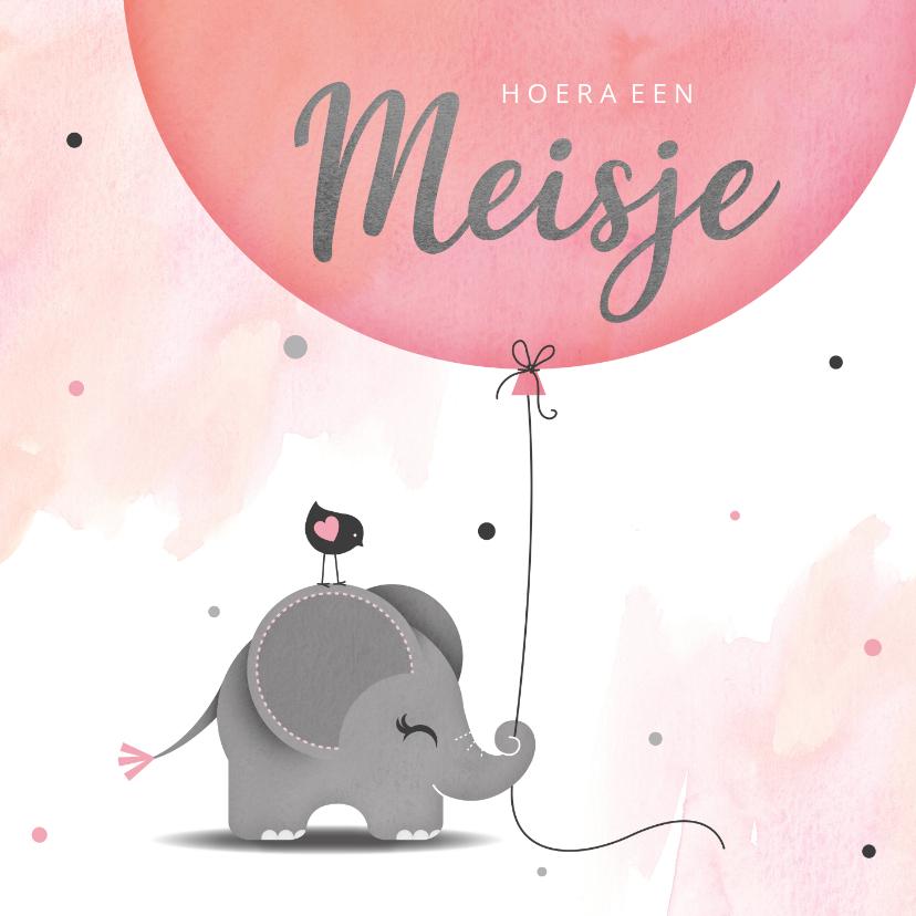 Felicitatiekaarten - Felicitatie dochter olifantje met ballon en vogel