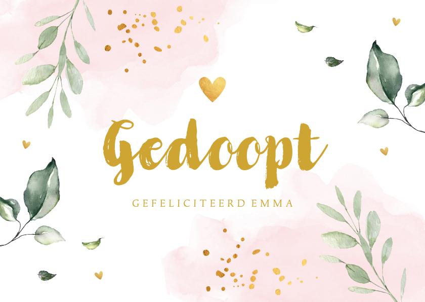 Felicitatiekaarten - Felicitatie doopsel meisje botanische bladeren roze