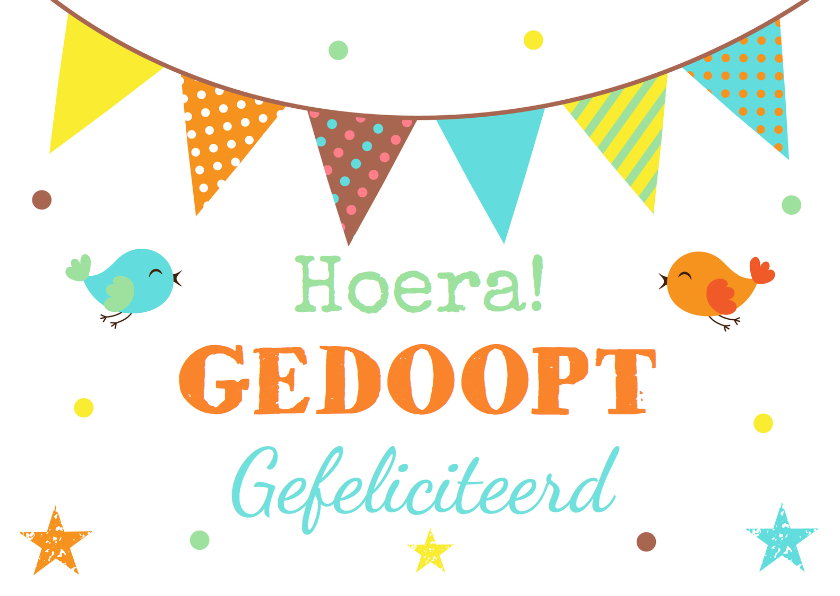 Felicitatiekaarten - Felicitatie doopsel vlag en vogels
