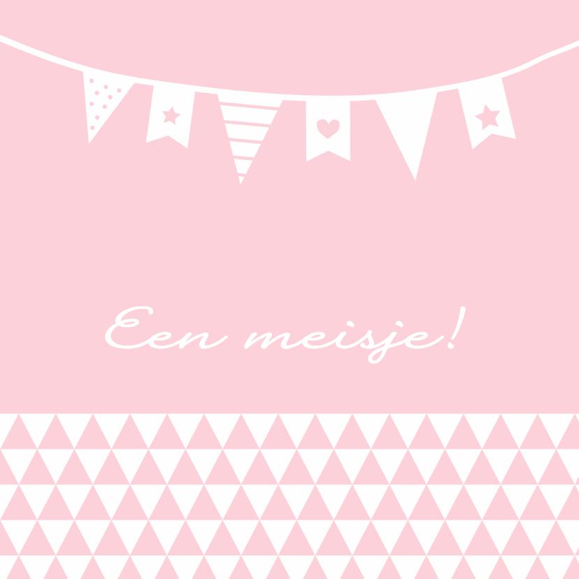 Felicitatiekaarten - Felicitatie-Driehoek, vlag, roze