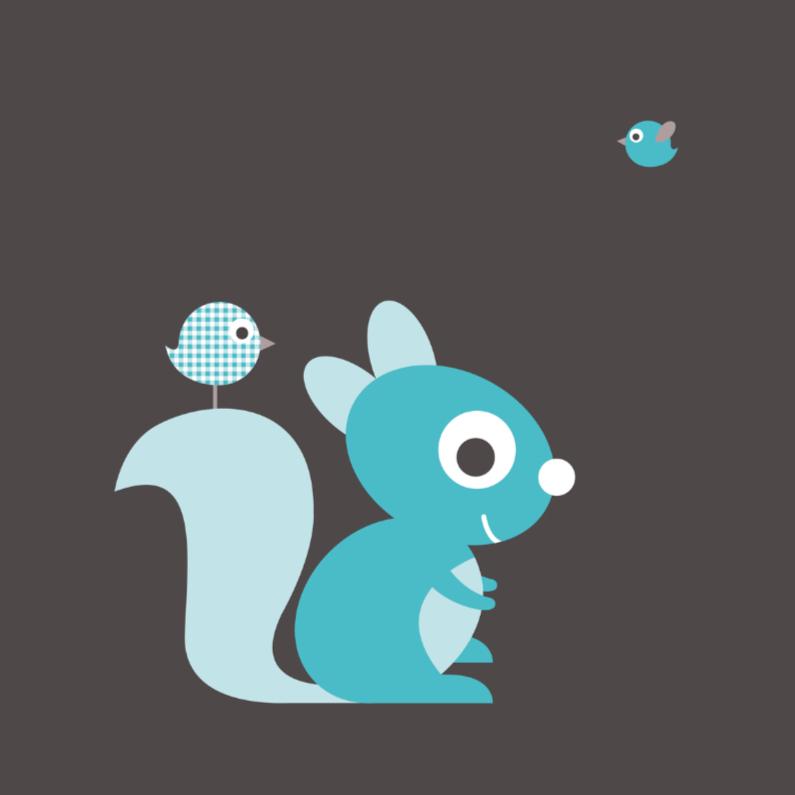Felicitatiekaarten - Felicitatie eekhoorn blauw