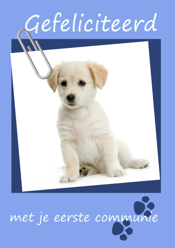 gefeliciteerd met je eerste communie Felicitatie eerste communie pup | Kaartje2go gefeliciteerd met je eerste communie