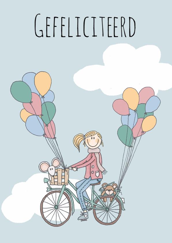 Felicitatiekaarten - Felicitatie Fiets Ballon - LFZ