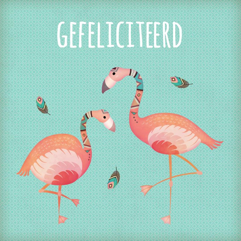 Felicitatiekaarten - Felicitatie flamingo's - BK