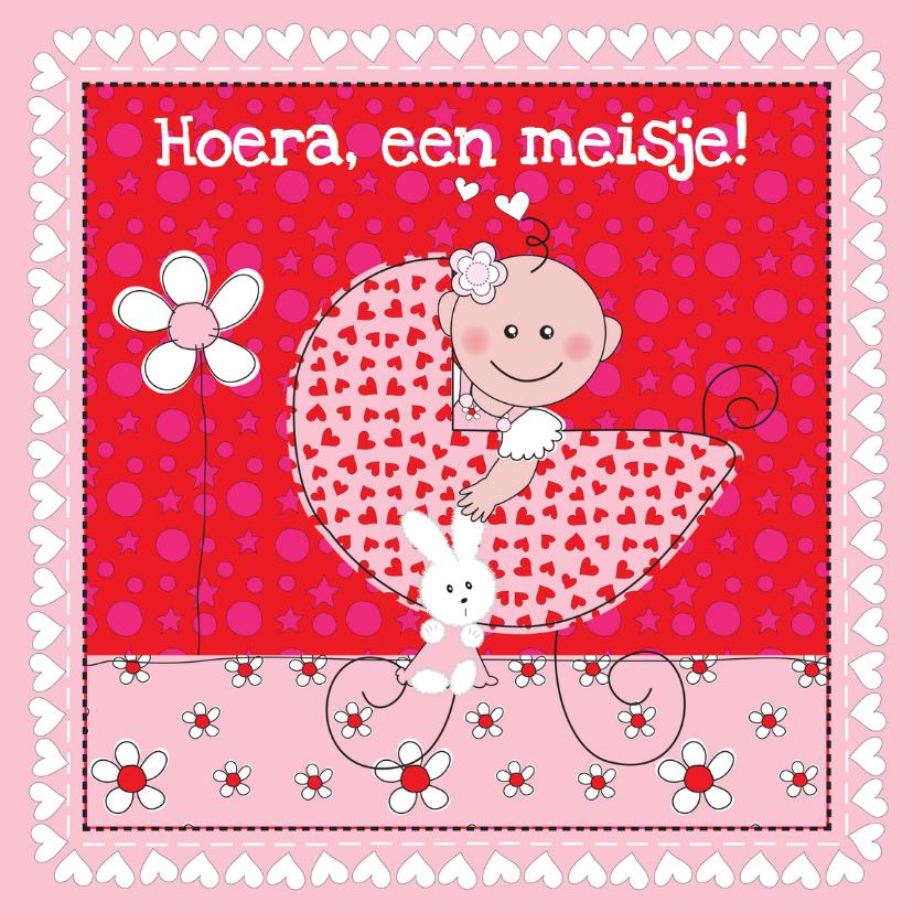 Felicitatiekaarten - Felicitatie geboorte baby kinderwagen roze