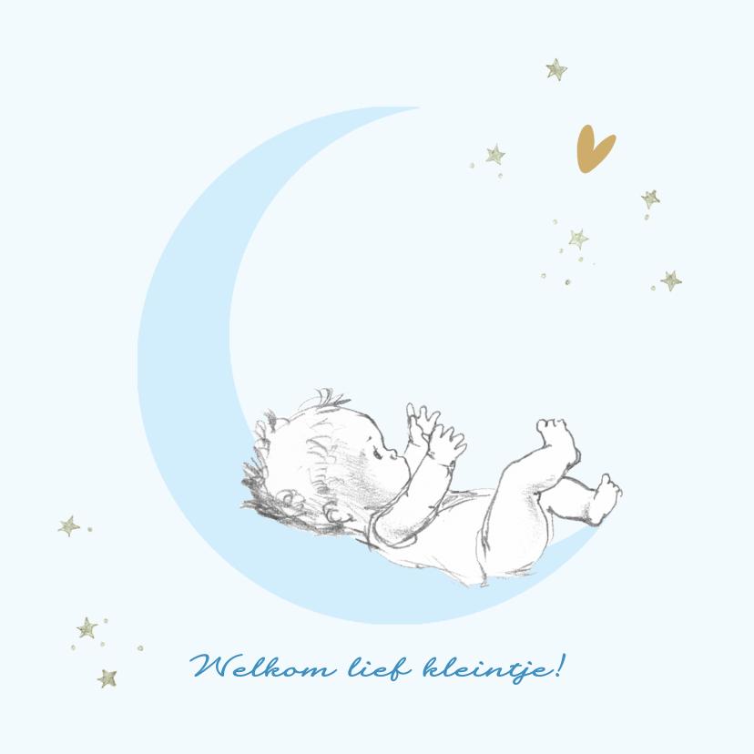 Felicitatiekaarten - Felicitatie geboorte baby op maan met sterren