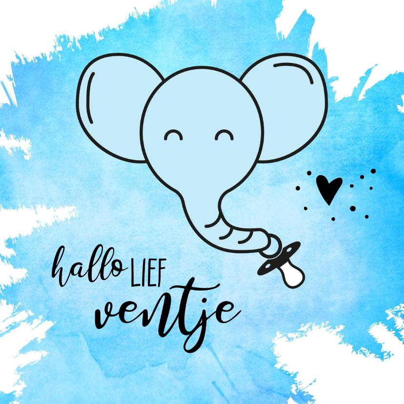 Felicitatiekaarten - Felicitatie geboorte blauwe olifant met speen aan de slurf