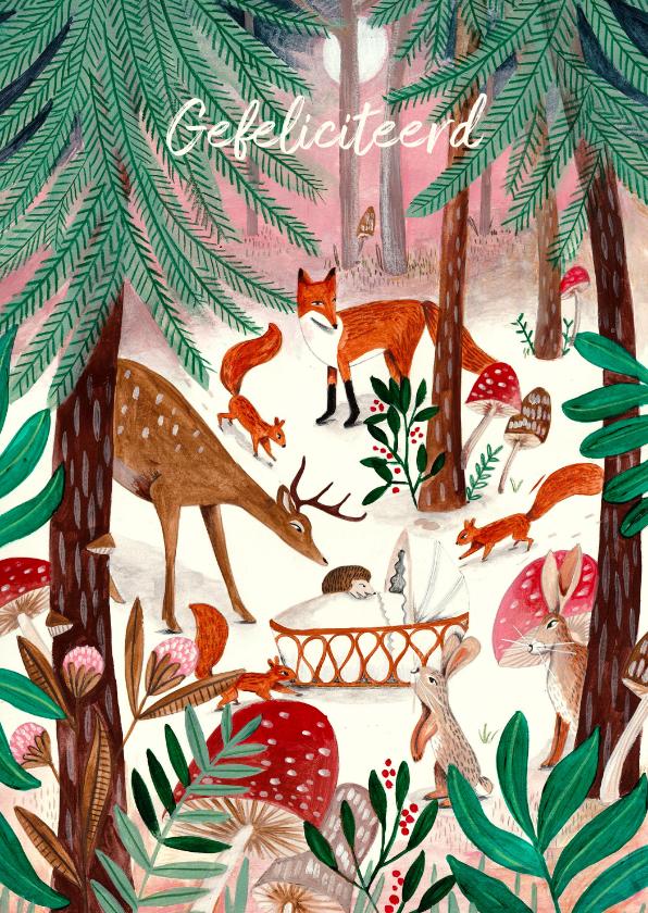Felicitatiekaarten - Felicitatie geboorte dieren in het bos bij wiegje
