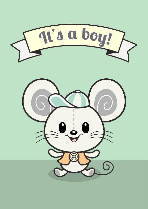 Felicitatiekaarten - felicitatie geboorte It's a boy - TW
