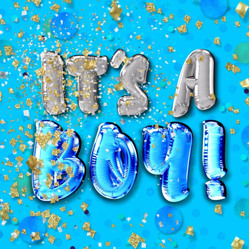Felicitatiekaarten - Felicitatie geboorte jongen - confetti
