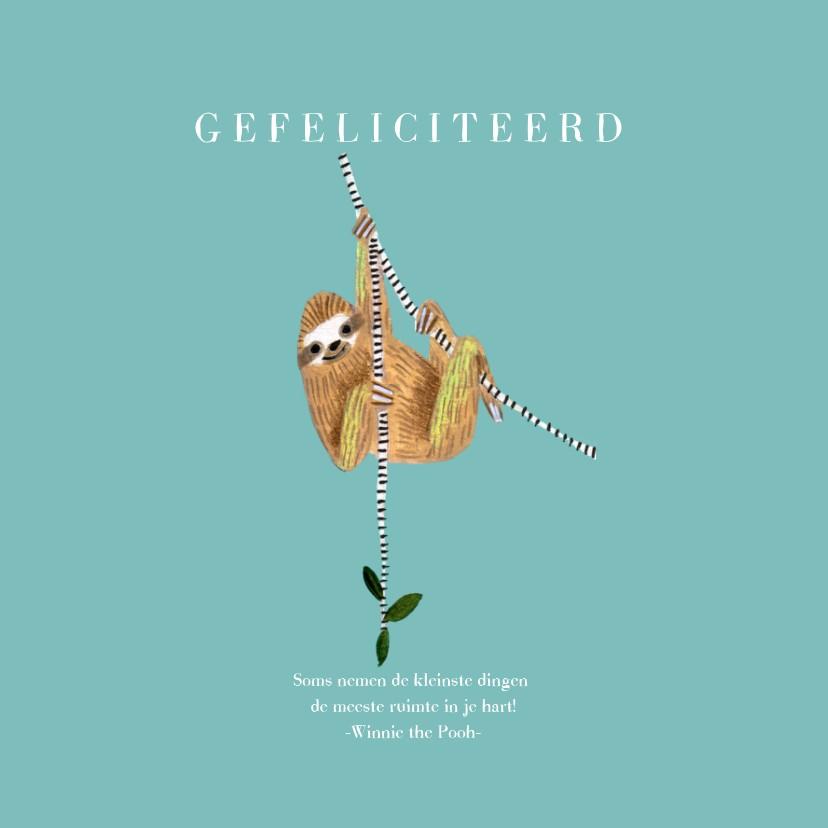 Felicitatiekaarten - Felicitatie geboorte jongen dieren jungle luiaard