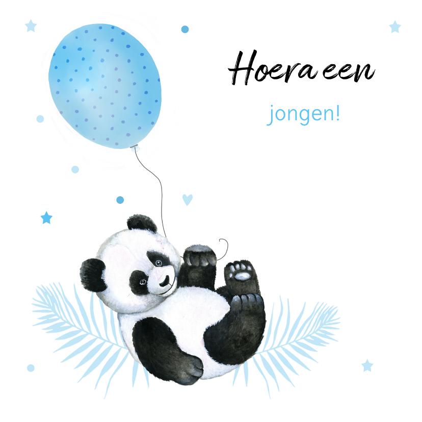 Felicitatiekaarten - Felicitatie geboorte jongen pandabeertje ballon
