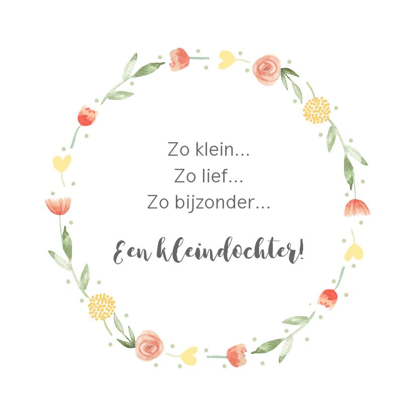 Felicitatiekaarten - Felicitatie geboorte kleindochter bloemenkrans
