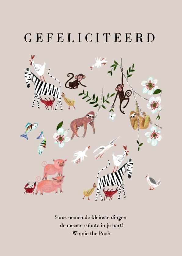 Felicitatiekaarten - Felicitatie geboorte meisje dieren jungle luiaard