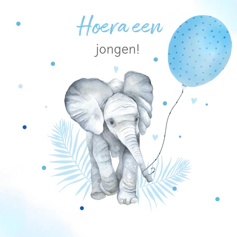 Felicitatiekaarten - Felicitatie geboorte olifantje ballon