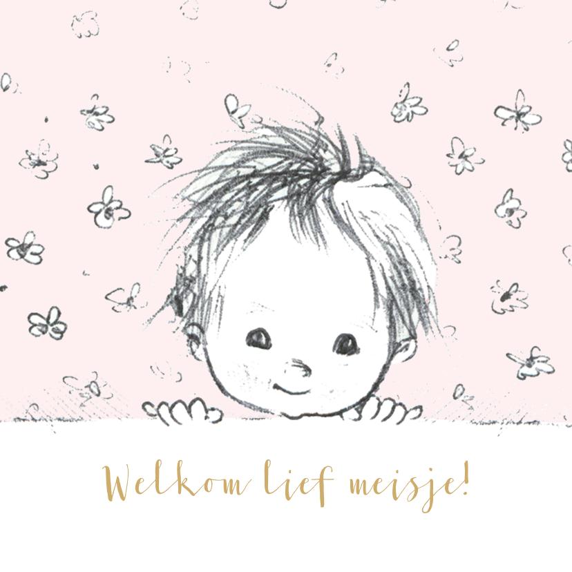 Felicitatiekaarten - Felicitatie geboorte pentekening babyhoofdje lichtroze