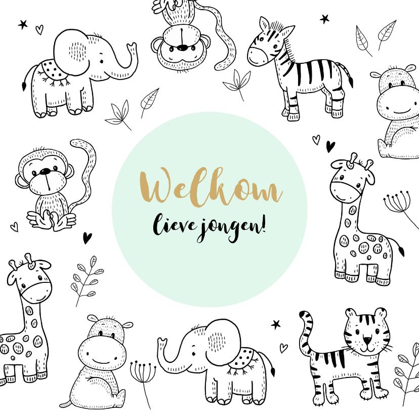 Felicitatiekaarten - Felicitatie geboorte safari dieren om een mintgroene cirkel