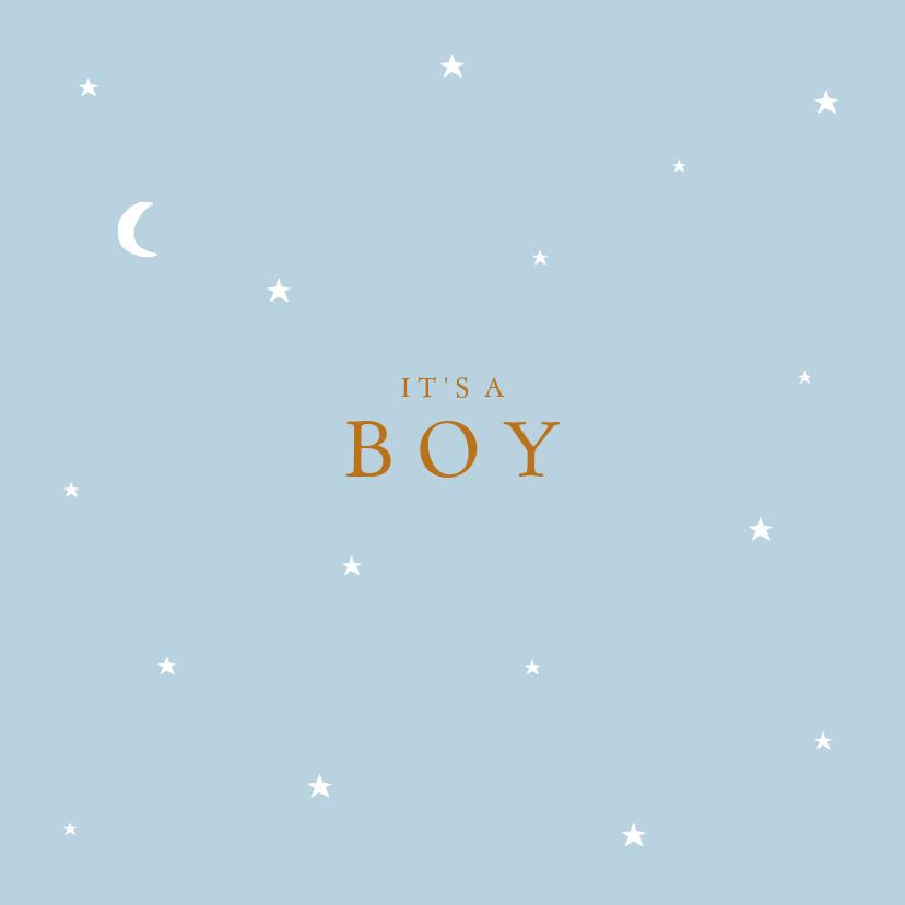 Felicitatiekaarten - Felicitatie geboorte sterren maan jongen