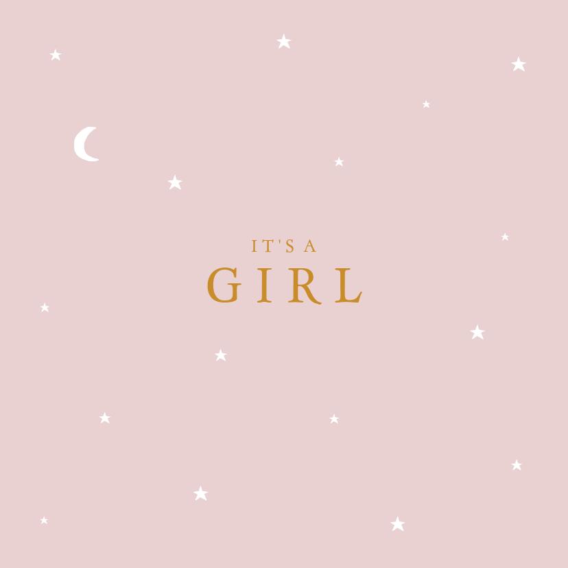 Felicitatiekaarten - Felicitatie geboorte sterren maan meisje
