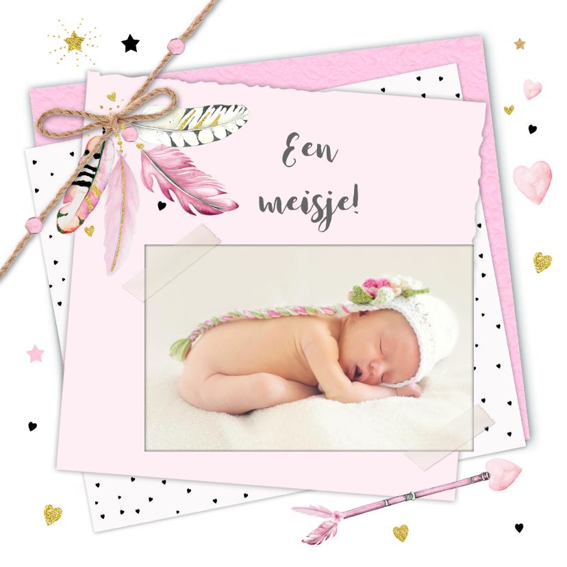 Felicitatiekaarten - Felicitatie geboorte veren papier