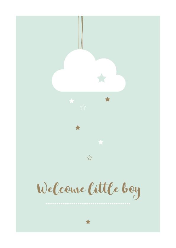 Felicitatiekaarten - Felicitatie geboorte  - Wolkje met sterren