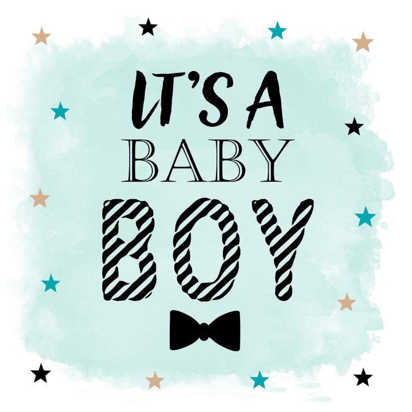 Felicitatiekaarten - Felicitatie geboorte zoon waterverf sterren
