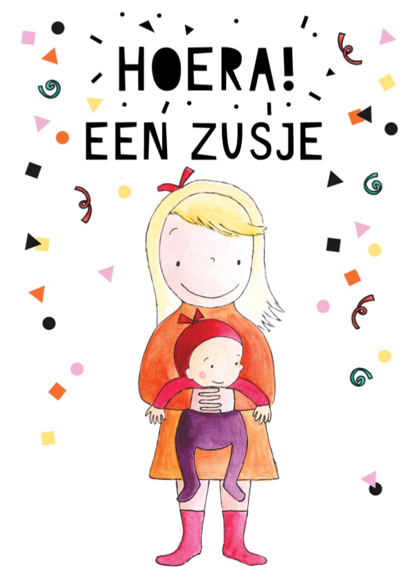 Felicitatiekaarten - Felicitatie geboorte zusje illustratie baby meisje
