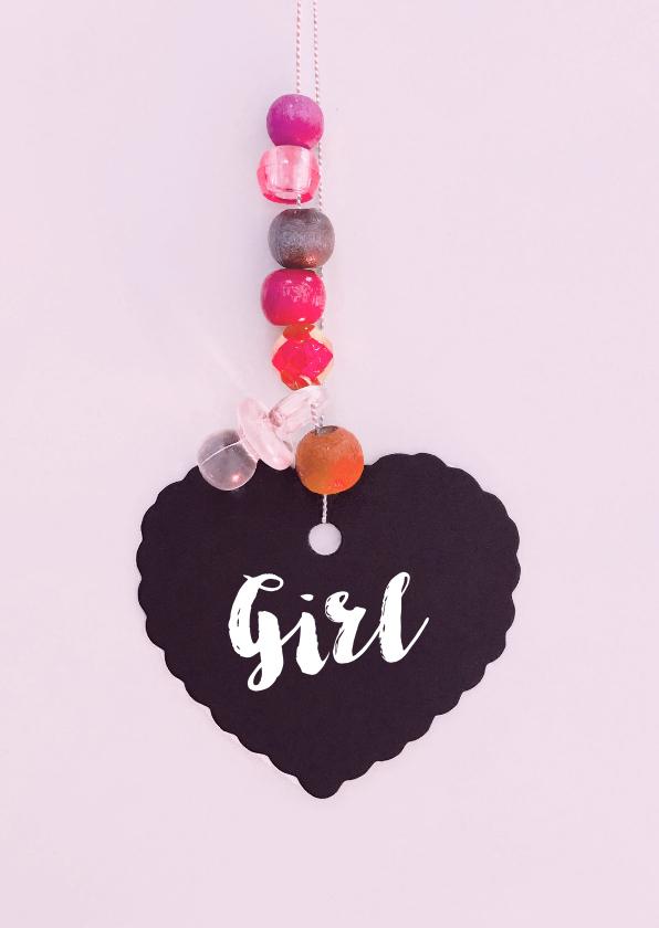 Felicitatiekaarten - Felicitatie geboortekaartje hart roze dochter