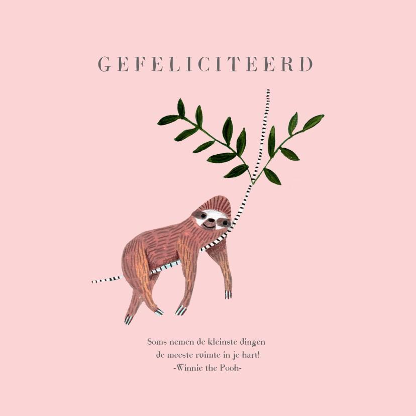 Felicitatiekaarten - Felicitatie geboren meisje dieren jungle luiaard
