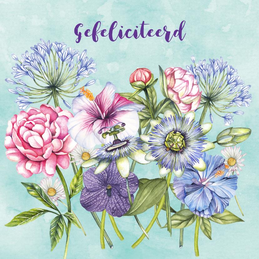 Felicitatiekaarten - Felicitatie gekleurde bloemen