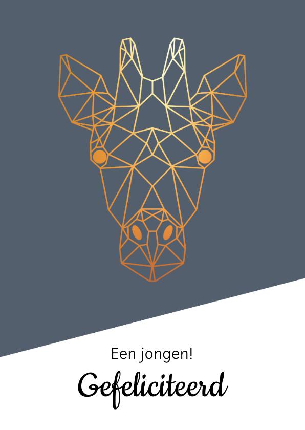 Felicitatiekaarten - Felicitatie - geometrische giraf met goud